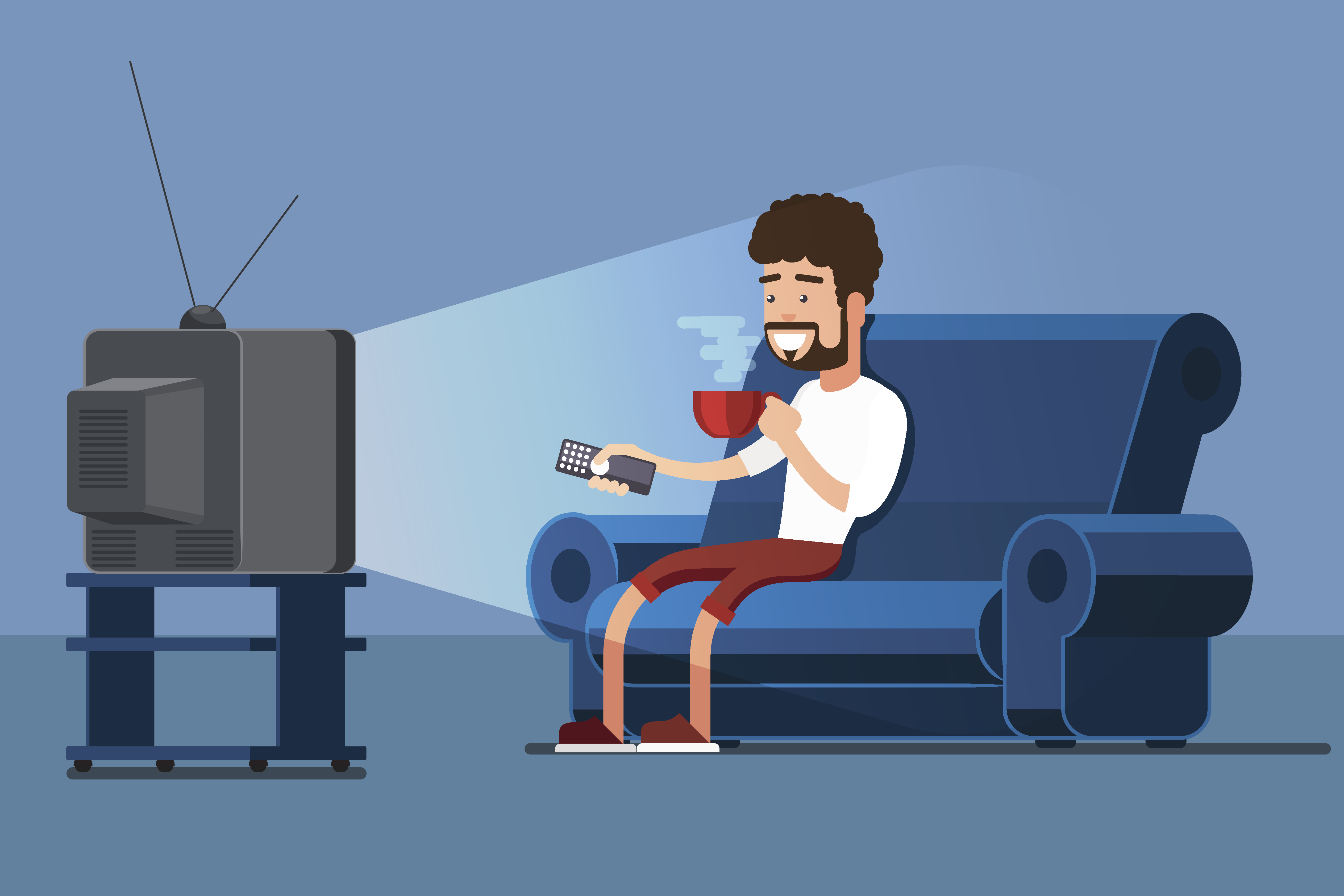 Man watches TV on sofa with coffee cup vector illustration